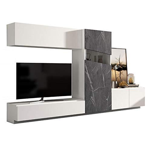 Tousmesmeubles Composition TV Bois Blanc/Marbre Gris - Camelia n°2 - L 270 x l 45 x H 185 - Neuf