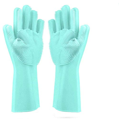 Cartshopper Dishwashing Gloves with Wash Scrubber + Magic Silicone Gloves + Heat Resistant + Reusable Cleaning Gloves for Kitchen,Car, Bathroom and Pet - (1 Pair )