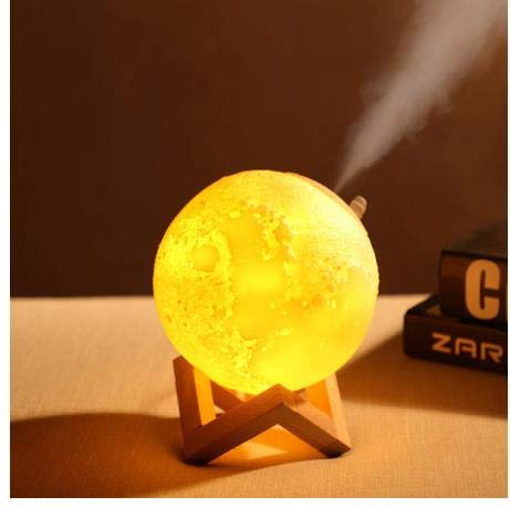 Humidificador 800ML Aromaterapia Lámpara Luna 3D Cambio Color Nocturna Carga USB Air Mist Maker Dormitorio