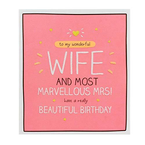 Tarjeta Happy Jackson (GF7011B) con texto en inglés Happy Birthday Wonderful Wife