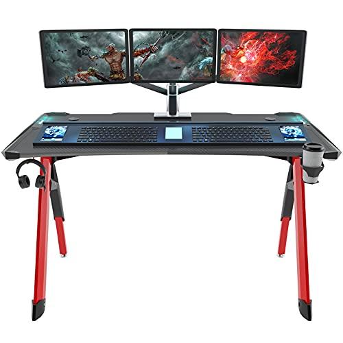 DlandHome Scrivania da Gioco Gaming Desk 120 cm PRO Tavolo da Gioco Moderno Ergonomico per Computer con Supporto per Tazza, Luci a LED RGB e Tappetino per Mouse Extra Large, Red