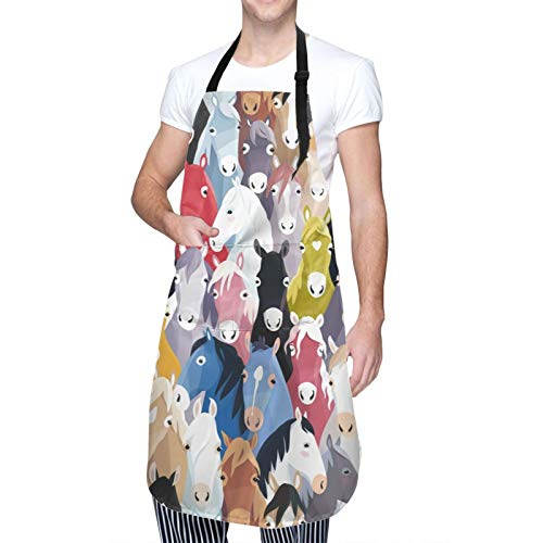 Colorful Cartoon Horses Kitchen Apron with 2 Pockets Home Improvement Gardening BBQ Grill Chef Cooking Aprons for Women Men