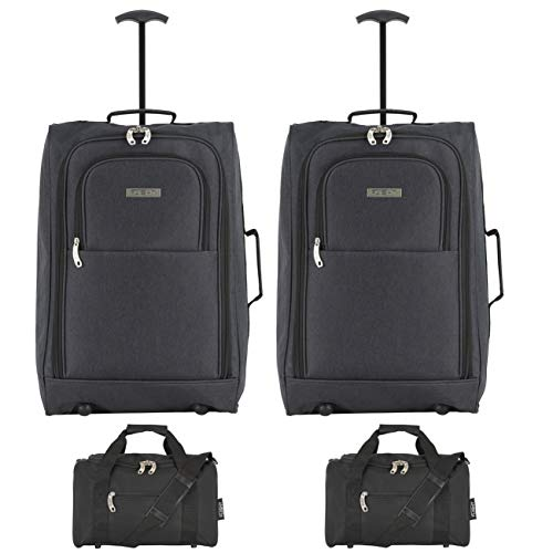 Flight Knight Set of 2 Cabin Suitcase 55x35x20cm and Carry On Hand Luggage easyJet Ryanair Approved 2 Wheels Lightweight Bag Ideal for Airline Travel