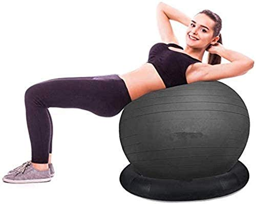 Yoga Ball Gymnastikball PVC Eindickung Explosionsgeschützte Gymnastikball Mutterschaft Produktion Kugelfest Ring-Unter Yoga Ball Chair, Schwarz 75cm