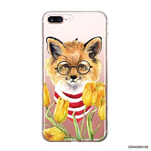 blitzversand Handyhülle Fox Fuchs kompatibel für iPhone 5 / 5s Fuchs mit Brille Tulpen Schutz Hülle Case Bumper transparent rund um Schutz Cartoon M8