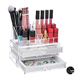 Relaxdays Organizador de Maquillaje (2 Piezas, con cajones, plástico, 18,5 x 23,5 x 15 cm), Transparente, 1 Unidad