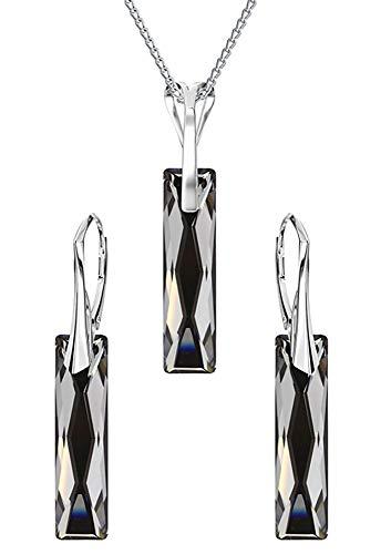 Crystals & Stones *Silver Night* *QUEEN BAGUETTE* - Schmuckset Ohrringe und Halskette mit Swarovski Elements Damen - Wunderbare Schmuck mit Elegant Schmuscketui