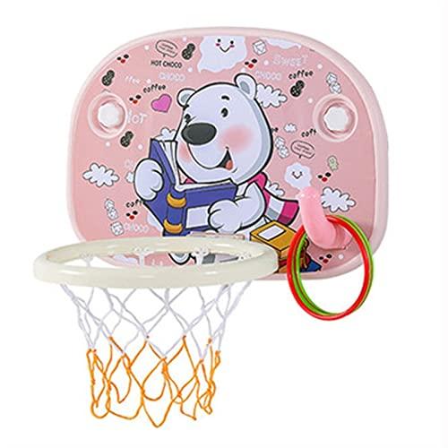 Tablero de Baloncesto Cesta de Tiro para niños, Hoop de Baloncesto de la succión Interior, Juguetes para bebés, Regalos de cumpleaños para niños y niñas (Color : Pink)