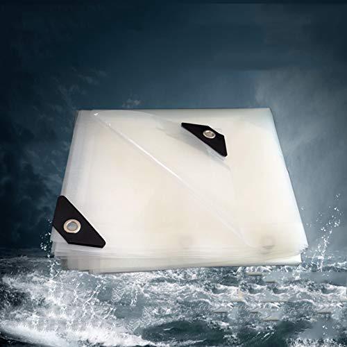 Transparent Tarpaulin with Eyelets,0.12mm Heavy Duty Waterproof Tarpaulin Sheet,Garden Clear Waterproof Tarp Anti Freezing Rainproof Film Cloth Insulation Canopy PE Plastic Cover (2x5m/6.5x16ft)