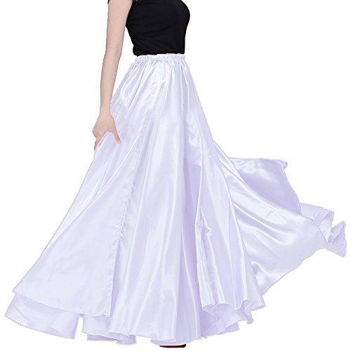 Womens Elegant Ballroom Long Latin Belly Dance Full Circle Dance Skirt (White)