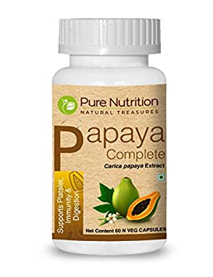 Pure Nutrition Papaya Complete - 60 Veg Capsules (Supports Platelet Immunity & Digestion) Each Capsule Contains 500mg Carica Papaya Fruit and Leaf Extract. Non-GMO   Gluten-Free.