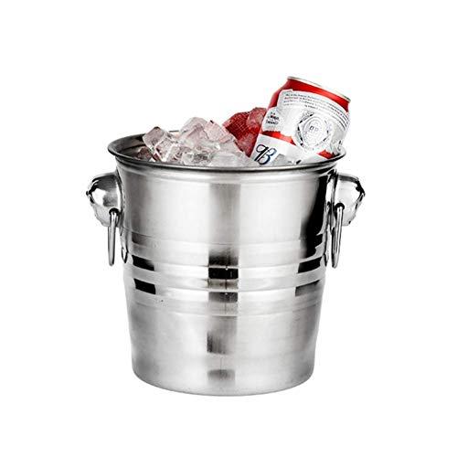 XBSXP Cubo de Hielo de Acero Inoxidable, Cubo de Vino Aislado con Pinzas de Hielo, Enfriador de Vino de champán portátil Contenedor de Cubitos de Hielo para Barra de Fiesta-d 23x26x20cm