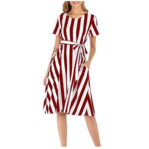 EUCoo Vestido de manga corta para mujer, casual, a rayas, elegante, con cinturón, con bolsillos