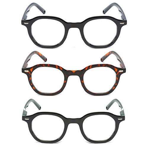 LGQ Paquete de 3 Gafas de Lectura de Alta definición para Personas Mayores, Marco de Material de PC, Gafas de Lectura para Hombres y Mujeres, dioptrías +1,00 a +3,00,Mixing,+3.00