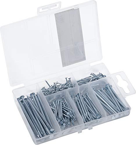 Connex Nagel-Sortiment 200-teilig - Diverse Größen - Versenkt - Vorsortiert in praktischer Kunststoffbox - Geeignet für Haus, Hobby & Werkstatt / Sortimentskasten / Sortimentsbox / DP8500101