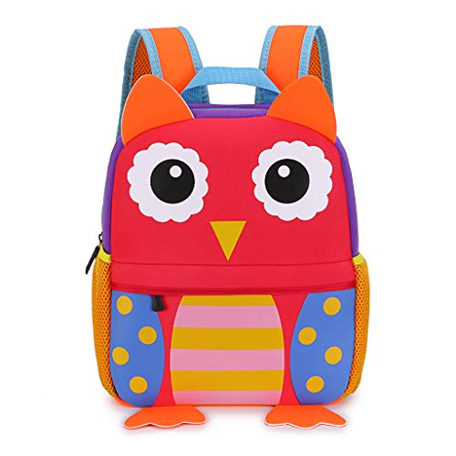 IGNPION Nursery Kids Backpacks Toddle Children School Bag Zoo Lunch Bag 3D Cute Animal Cartoon Preschool Rucksack (3-7 Years Old)(Owl Large)