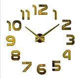 LEGU Relojes de Pared Sin Marco Bricolaje Reloj de Pared Surface 3D Espejo acrílico Reloj de Pared con batería y no tictac for Sala de Estar Decoración Reloj (Color : Gold)