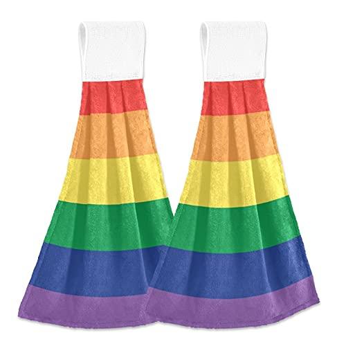 Oarencol GLBT Pride Rainbow Flag LGBTQ - Toalla de mano para cocina gay lesbiana, colores absorbentes, con lazo para baño, 2 unidades