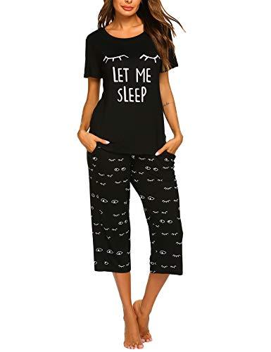 Product Image of the MAXMODA Women's 2 Piece Short Sleeve Pajama Set Sleepwear Comfy Tops and Capri...