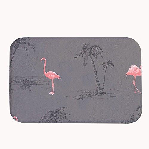 Rioengnakg Badematte mit pinken Flamingos, grau, aus Coral-Fleece, Fußmatte für Eingangstüren, Eingangstür, Teppich, 50 x 80 x 1,3 cm