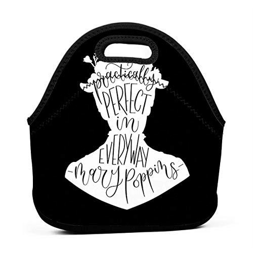 XCNGG Mary Poppins Prácticamente perfecto en todos los sentidos Hombres Mujeres Niños Bolsa de almuerzo aislada Tote Fiambrera reutilizable para el trabajo Picnic Escuela