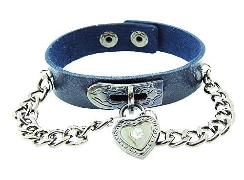 Vrouwelijke armband - vrouw - hart - armband - kunstleer - hart - knop - ketting - rock - steampunk - gothic - punk - blauw zilver - kerst - origineel cadeau idee