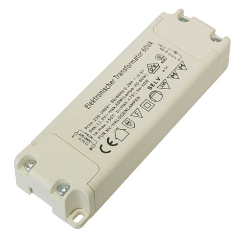 Transmedia LT2L Halogen-Trafo 230/12V/20-60W, Überlastungsschutz, Temperatursicherung, nicht dimmbar, 110 x 37 x 20.5 mm Slim