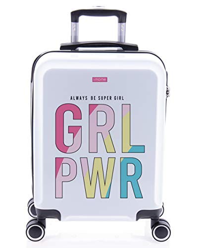 imome Cool Maleta de Cabina Juvenil Girl Power 55x40x20 cm | Equipaje de Mano, Trolley de Viaje Ryanair, Easyjet | Maleta de Viaje Rígida Divertida