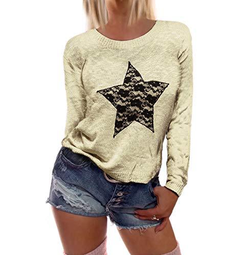 Dames lange mouwen fijn gebreide trui met een grote ster van kant in zes verkrijgbaar
