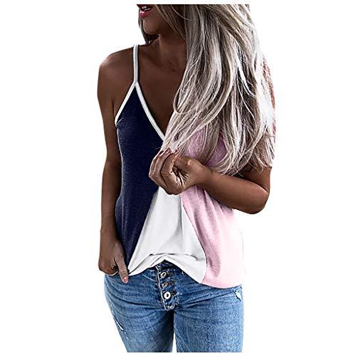 Inawayls Übergröße Cami Vest Tank ärmelloses Hemd Frauen sexy V-Ausschnitt Farbe Patchwork Shirt ärmellose Sling Tank Tops