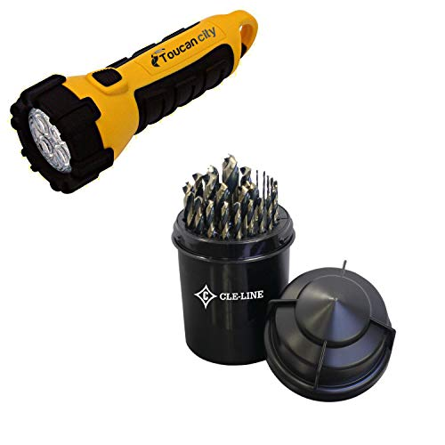 Toucan City LED Flashlight and CLE-LINE 1878 High Speed Steel Black and Gold Heavy-Duty Jobber 1/16 in. - 1/2 in. x 64 Bit Set (29-Piece) C18128