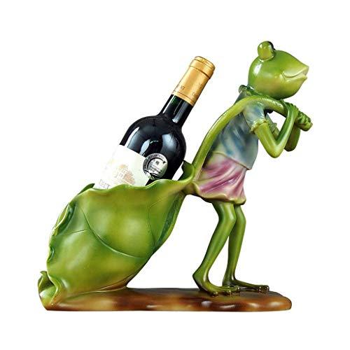Estante para vino de pie Titular de almacenamiento de vino creativo de la rana del estante Forma vino Personalidad Home Cocina Restaurante Resina estante del vino encimera Gabinete Bodega Estante para