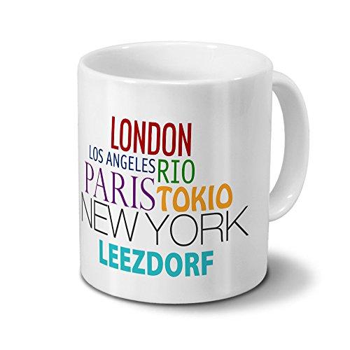 Städtetasse Leezdorf - Design Famous Cities of the World - Stadt-Tasse, Kaffeebecher, City-Mug, Becher, Kaffeetasse - Farbe Weiß