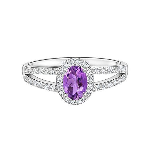 Shine Jewel Anillo Solitario Ovalado de Piedras Preciosas de Amatista de Doble vástago 6X4MM Plata 925 (21)