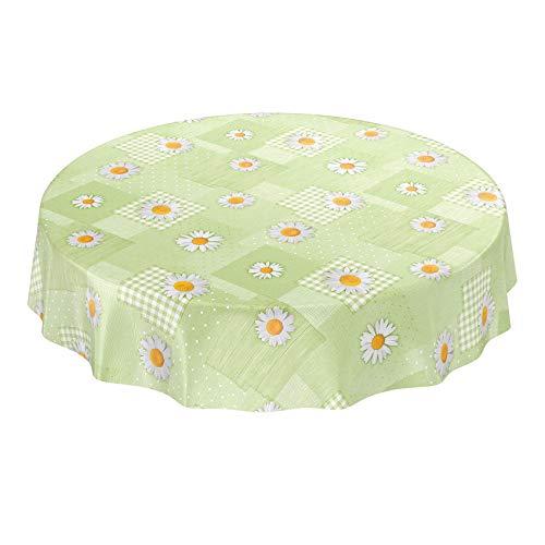 ANRO wasdoek tafelkleed wasdoek wastafelkleed tafelkleed Kamille patchwork groen rond 140cm, snijkant