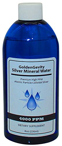 GoldenGevity Colloidal Silver - 4000 PPM Atomic Particle (8 oz.) 400 Times More PPM Than Other Products - Trace Mineral Colloidal Silver - Pure Mineral Supplement - High PPM Colloidal Silver