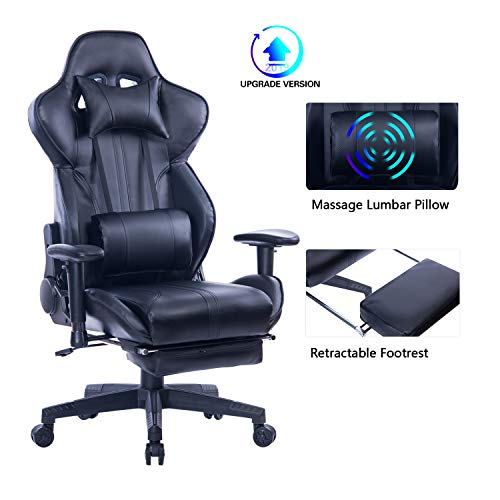Blue Whale Gaming Chair with Adjustable Massage Lumbar Pillow,Retractable Footrest and Headrest -Racing Ergonomic High-Back PU Leather Office Computer Executive Desk Chair 8239Black chair gaming