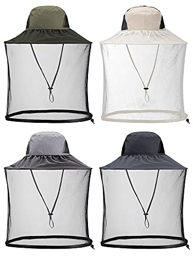 Geyoga 4 Pieces Mosquito Head Mesh Net Hat Cover Face Hat Fly Protection Netting Hat for Outdoor Fishing Hiking Gardening Beekeeping, 4 Colors