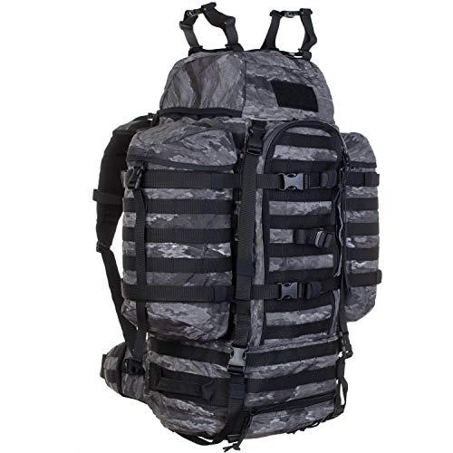 Wisport Outdoor Rucksack Damen & Herren + inkl. E-Book | Survival Trekkingrucksack 65L | Bushrafting | Camping | Camp | Zelt | Regenhülle | Cordura | Camo | A-TACS LE Ghost | Wildcat