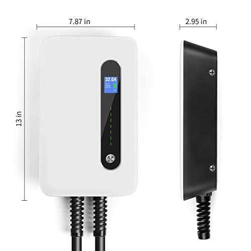 LEFANEV Ladestation für Elektrofahrzeuge (EV) mit 32 Ampere Großes Display und EU Stecker Typ 2 (IEC 62196-2) EVSE, 20-Fuß-Kabel, Innen/Außenbereich (White) - 8