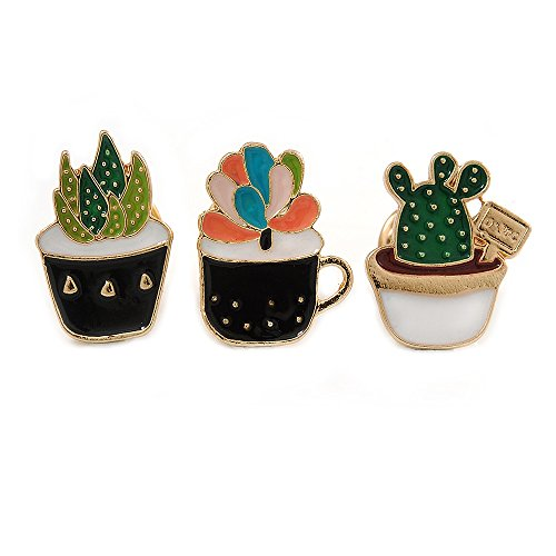 Avalaya 3 Pcs Funky Enamel Cactus, Grass, Aloe Vera Potted Plant Brooch Set for Clothes/Bags/Backpacks/Jackets - 30mm Tall