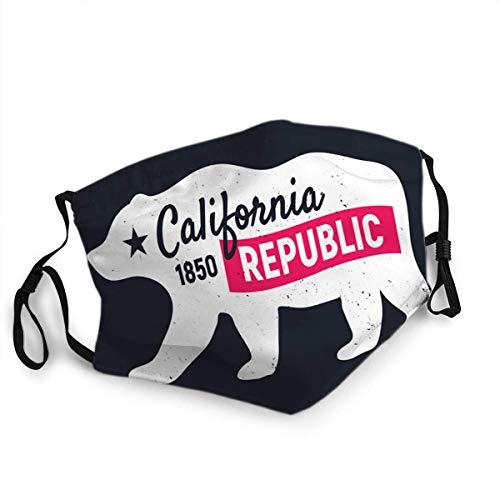 FULIYA Wiederverwendbare, waschbare Gesichtsabdeckung, Unisex, für Motorrad, Fahrrad, Laufen, Radfahren und Outdoor, mit Filter, California Republik Bär Vintage