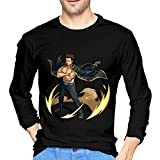 Kondo ISAO Gintama Men's Long Sleeve T-Shirts 3D Cartoon Animation Pure Cotton Sports T-Shirt Black