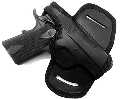 """HOLSTERMART USA by CEBECI Black Leather Right Hand OWB Mini Belt Slide Holster with Thumb Break for Any 3"""" 1911, Kimber Ultra Carry II, Ultra CDP II, Springfield EMP, Micro Compact 45, etc."""