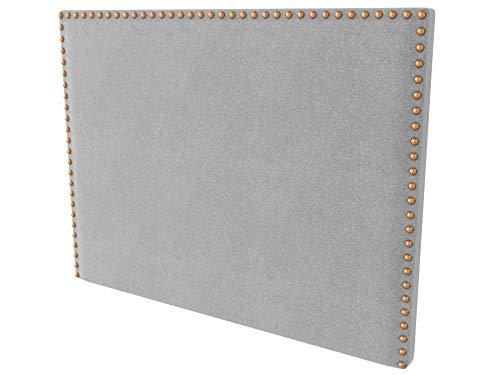 LA WEB DEL COLCHON - Cabecero tapizado Tachuelas para Cama de 150 (160 x 120 cms) Gris Claro Textil Suave | Cama Juvenil | Cama Matrimonio | Cabezal Cama |