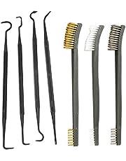 XFC-QIJIE、 3枚スチールワイヤーブラシ+ 4本のナイロンはセットユニバーサル銃狩猟クリーニングキットタクティカルライフル銃のクリーニングツールを選択してください