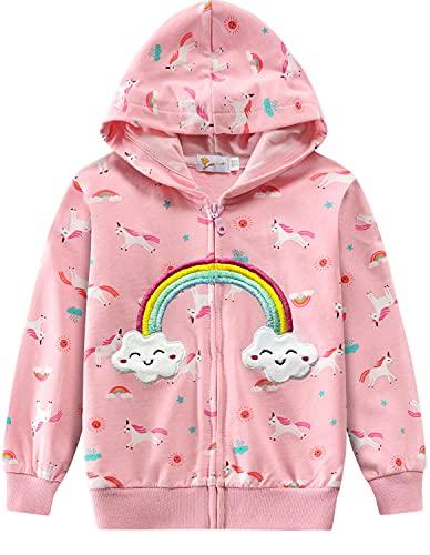 EULLA Sudadera con capucha para niña, con cremallera, 1-7 años, 92-122, 6# Rosa Unicornio arco iris, 110 cm