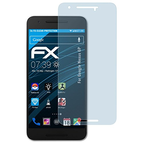 atFolix Schutzfolie kompatibel mit Google Nexus 6P Folie, ultraklare FX Bildschirmschutzfolie (3X)