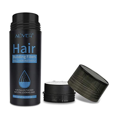 Hair Fibers for Thinning Hair (Multiple Colour) 100% Undetectable Natural Fibers - Completely Conceals Hair Loss in 15 Seconds - For Women & Men - Giant 28g Bottle - (Black)