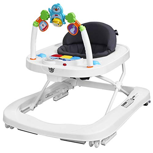 BABY JOY Baby Walker, 2 in 1 Foldable Activity Behind Walker with Adjustable Height & Speed, Friction Control Functions, Safety Belt, High Back Padded Seat, Music, Detachable Penguin Play Bar (Gray)
